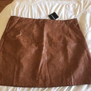 NWT Brown Vegan Leather Skirt